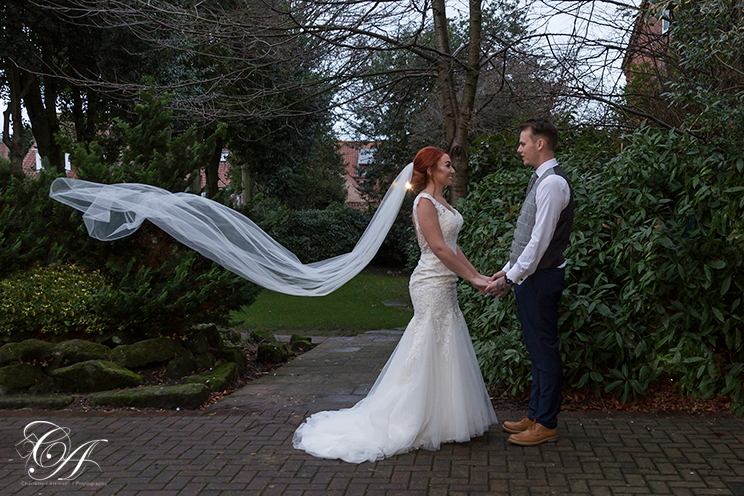 Vail toss is the York Registry Office Gardens. York Wedding Photographer