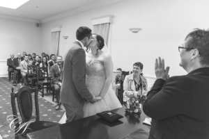 Bride and Grooms first kiss at the York Register Office.