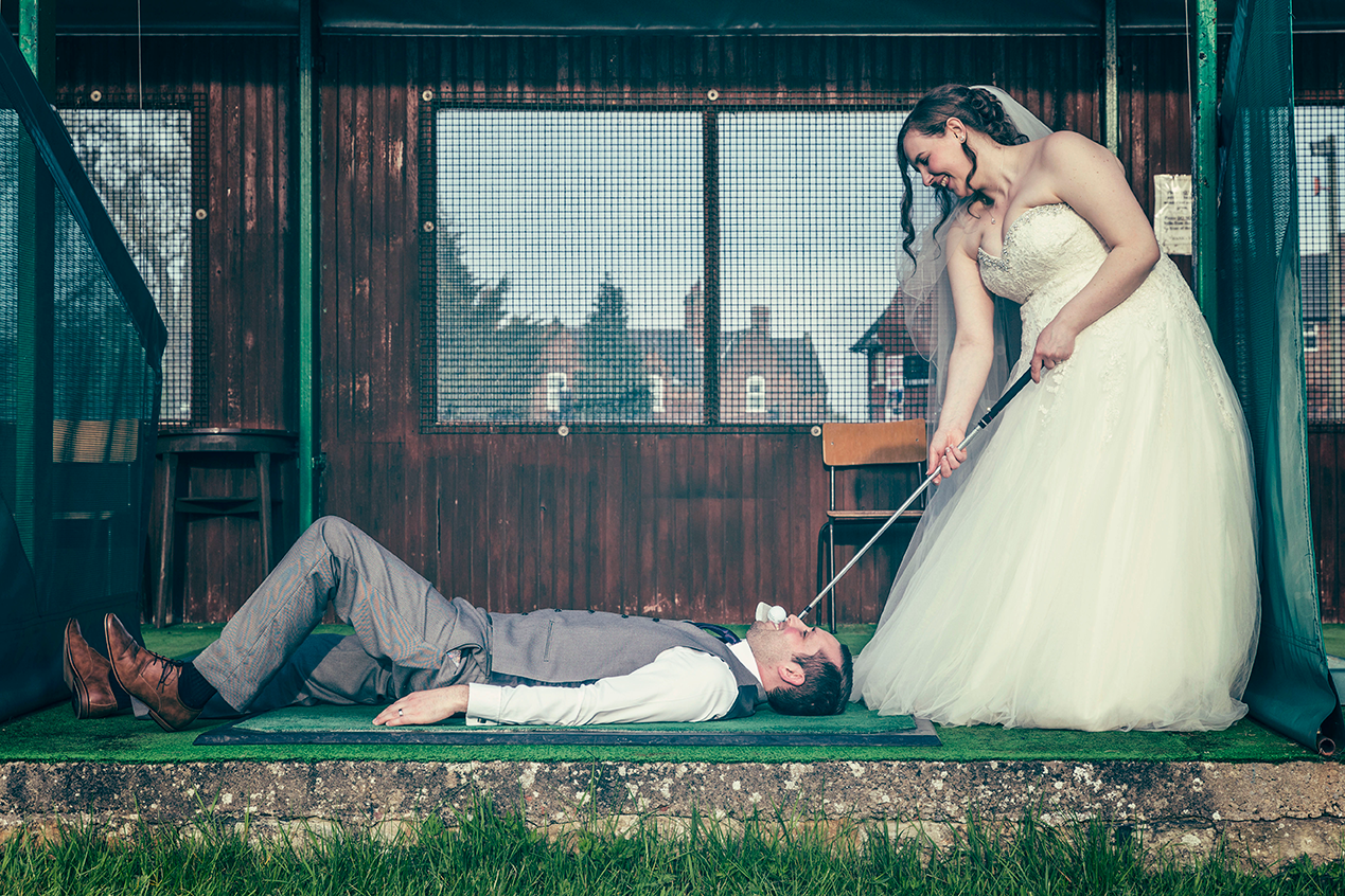 Fun Shot of the bride and groom at Melodie Park, York