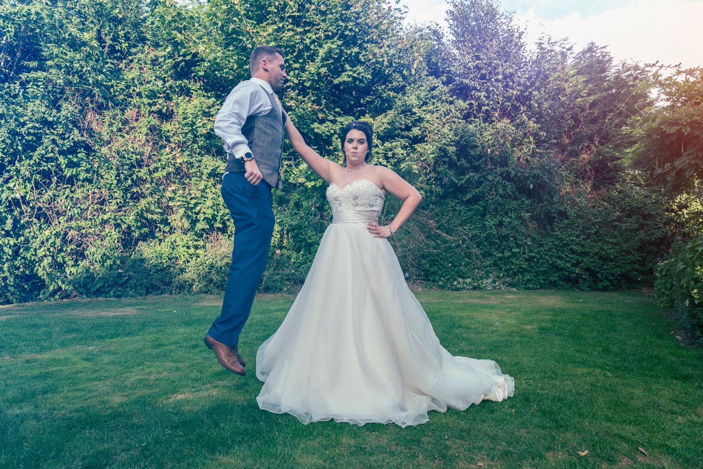Fun shot with the bride and groom at Sandbrun Hall.