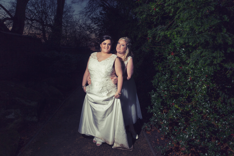 Twilight shot of Bride and Bride