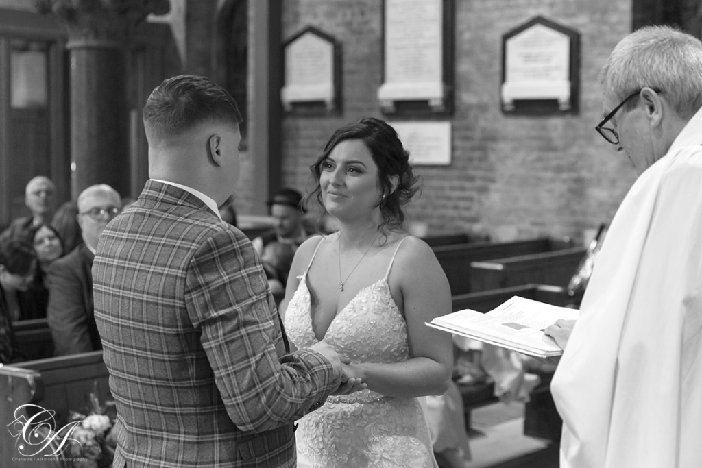 Bride and groom saying their vows at their York Wedding