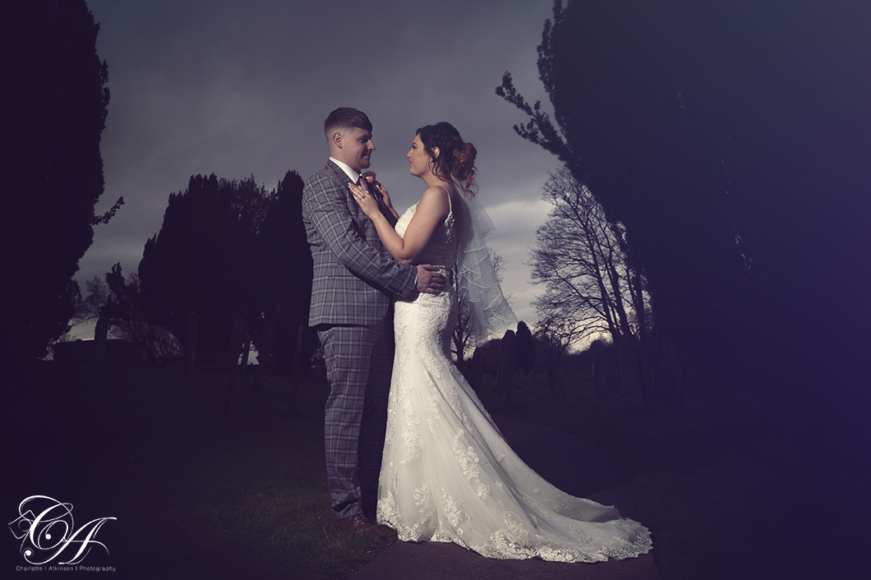 Bride and Groom stood facing each other. York Wedding photography