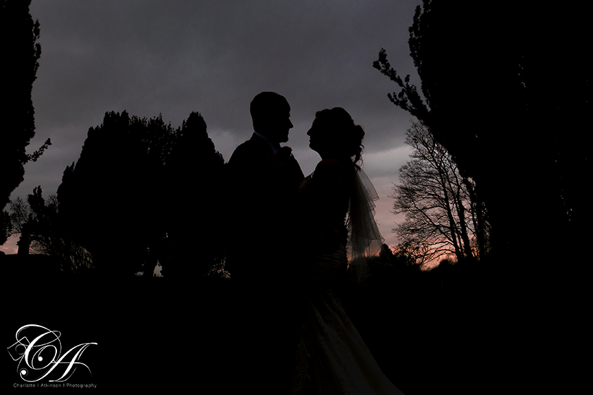 silhouette of bride and groom at their York Wedding