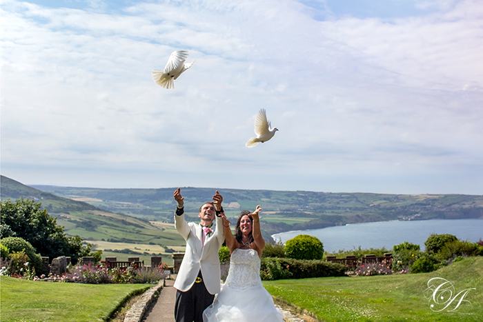 Wedding by the sea at Raven Hall Hotel, Ravenscar Wedding Photographer