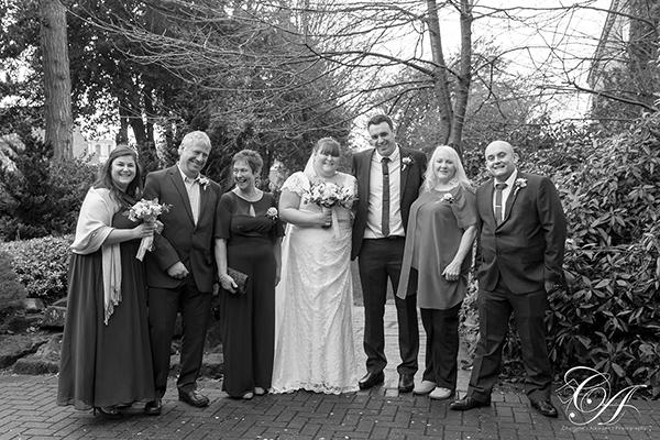 Group Wedding Photo in York Registry Office Gardens